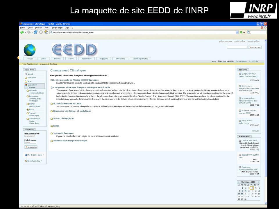 La maquette de site EEDD de lINRP Mettre photo du site (je nai pas pu y acceder aujourdhui)