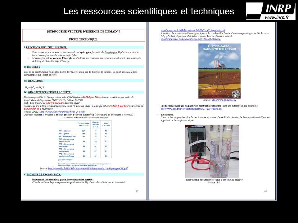 Les ressources scientifiques et techniques