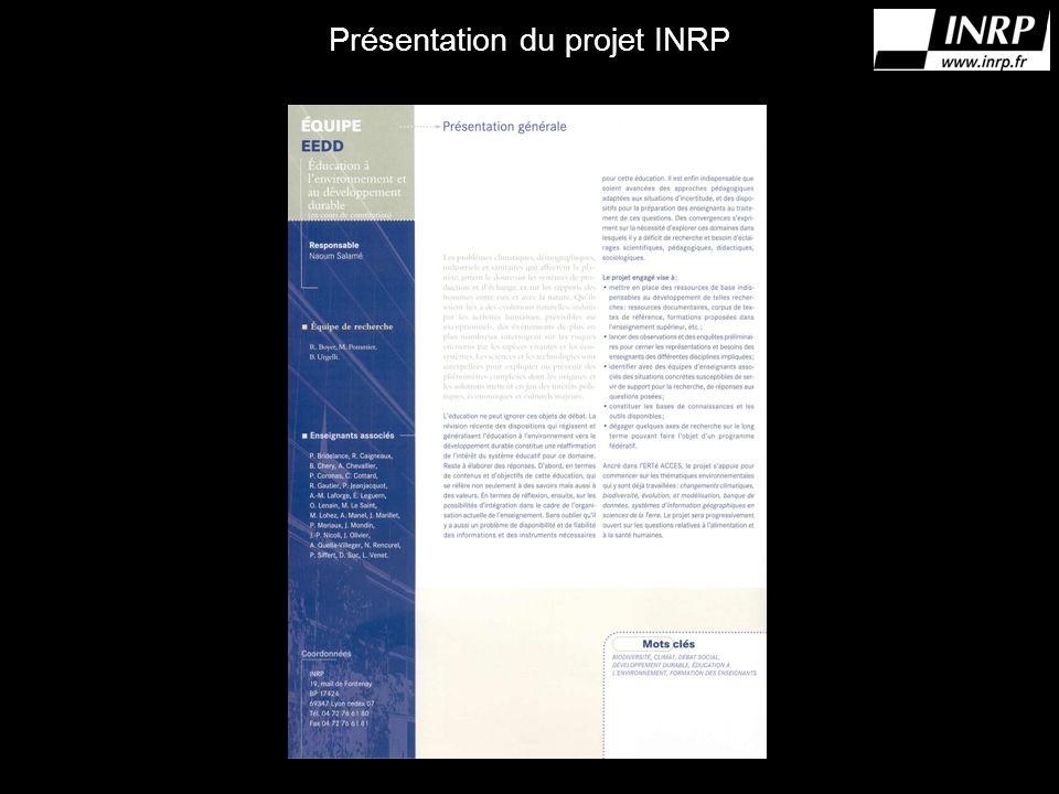 Présentation du projet INRP