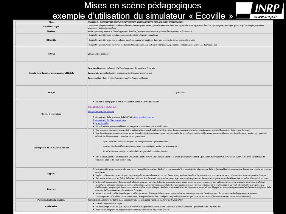 Mises en scène pédagogiques exemple dutilisation du simulateur « Ecoville »