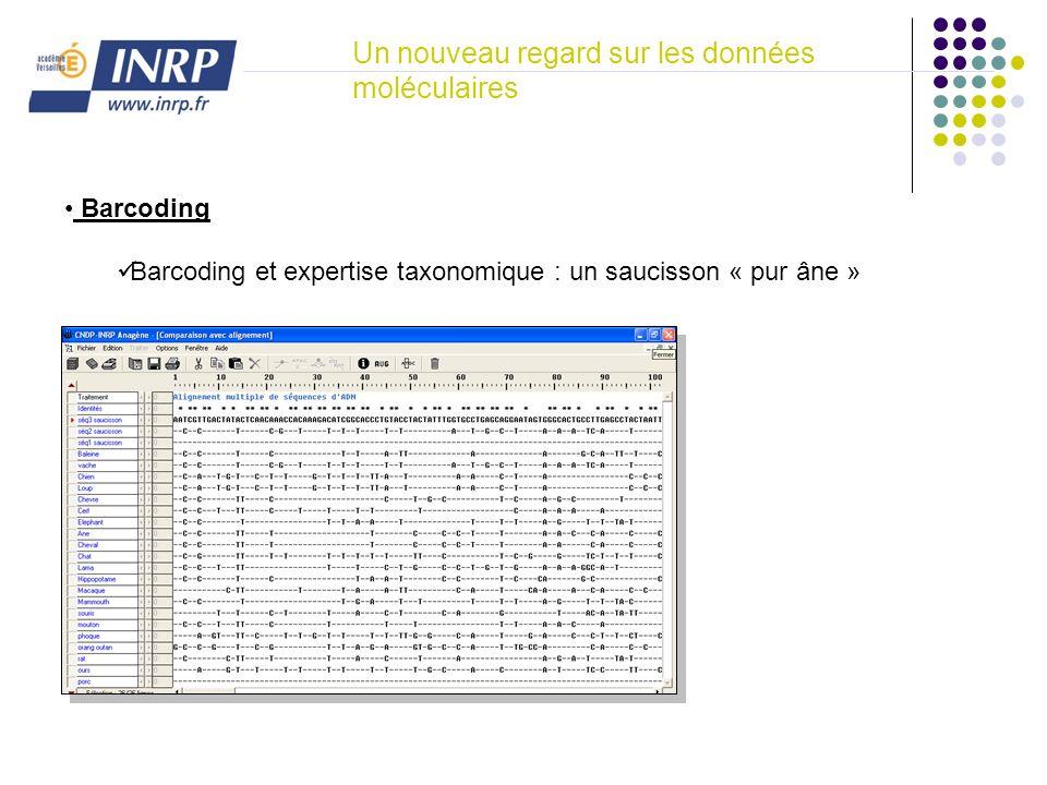 Un nouveau regard sur les données moléculaires Barcoding Barcoding et expertise taxonomique : un saucisson « pur âne »