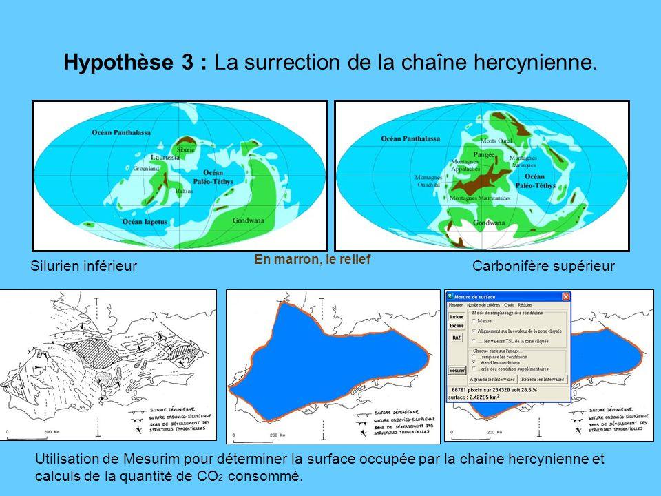 Hypothèse 3 : La surrection de la chaîne hercynienne. En marron, le relief Carbonifère supérieurSilurien inférieur Utilisation de Mesurim pour détermi