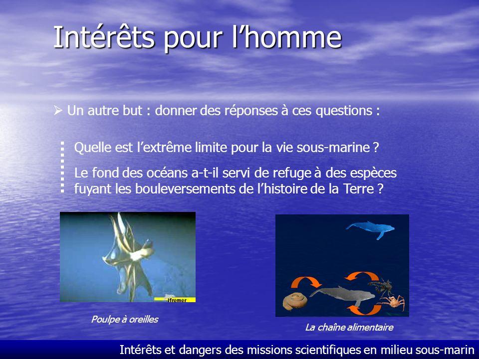 Intérêts et dangers des missions scientifiques en milieu sous-marin Intérêts pour lhomme Les grands fonds stimulent notre imaginaire. Tout soppose à l