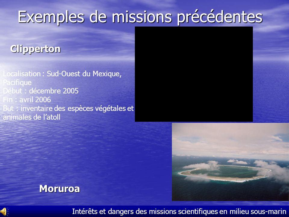 Intérêts et dangers des missions scientifiques en milieu sous-marin La mission scientifique Santo 2006 Besoins : 3 000 bouteilles de plongée (= 9 000