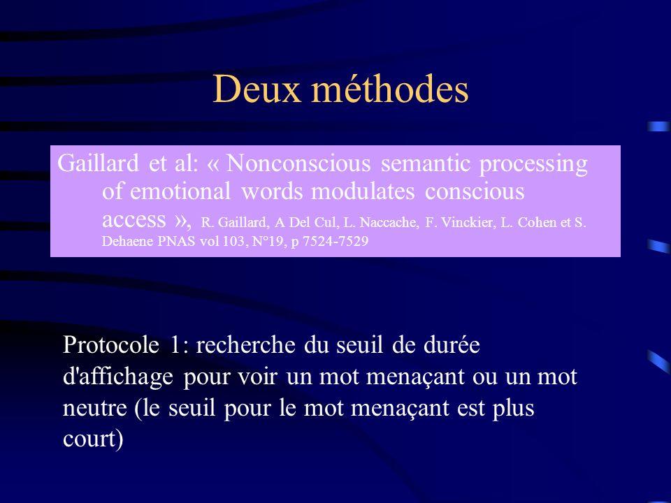 Deux méthodes Gaillard et al: « Nonconscious semantic processing of emotional words modulates conscious access », R. Gaillard, A Del Cul, L. Naccache,