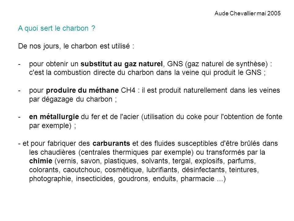 Aude Chevallier mai 2005 A quoi sert le charbon ? De nos jours, le charbon est utilisé : -pour obtenir un substitut au gaz naturel, GNS (gaz naturel d