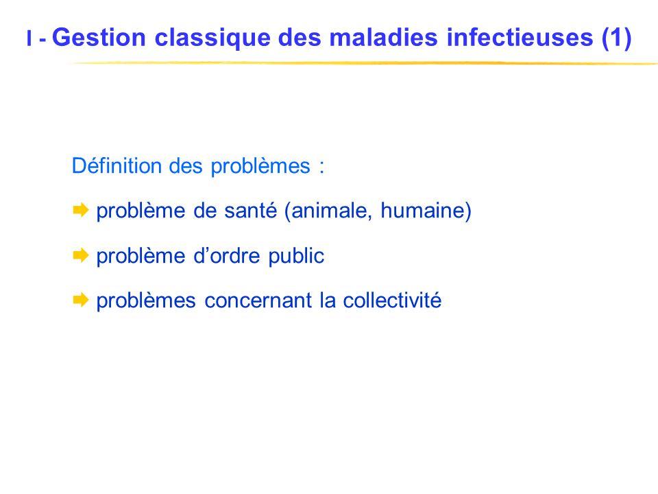 I - Gestion classique des maladies infectieuses (1) Définition des problèmes : problème de santé (animale, humaine) problème dordre public problèmes concernant la collectivité