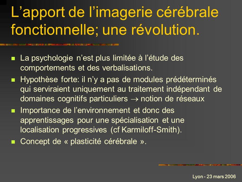 Lyon - 23 mars 2006 Lapport de limagerie cérébrale fonctionnelle; une révolution. La psychologie nest plus limitée à létude des comportements et des v