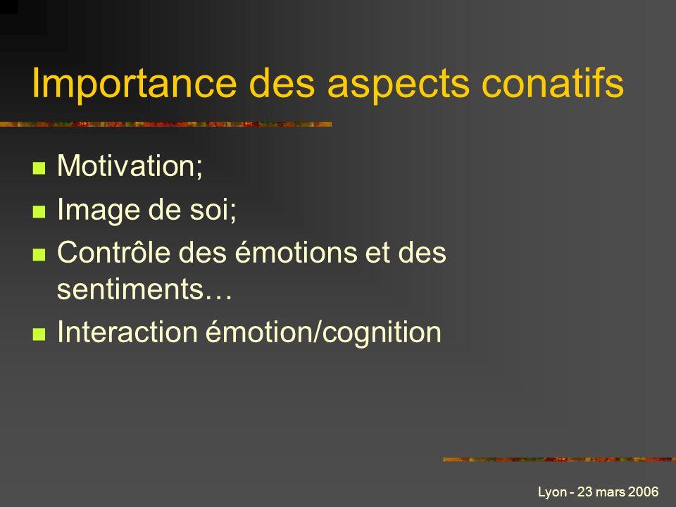 Lyon - 23 mars 2006 Importance des aspects conatifs Motivation; Image de soi; Contrôle des émotions et des sentiments… Interaction émotion/cognition