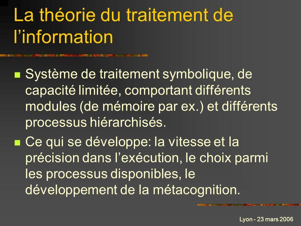 Lyon - 23 mars 2006 La théorie du traitement de linformation Système de traitement symbolique, de capacité limitée, comportant différents modules (de mémoire par ex.) et différents processus hiérarchisés.