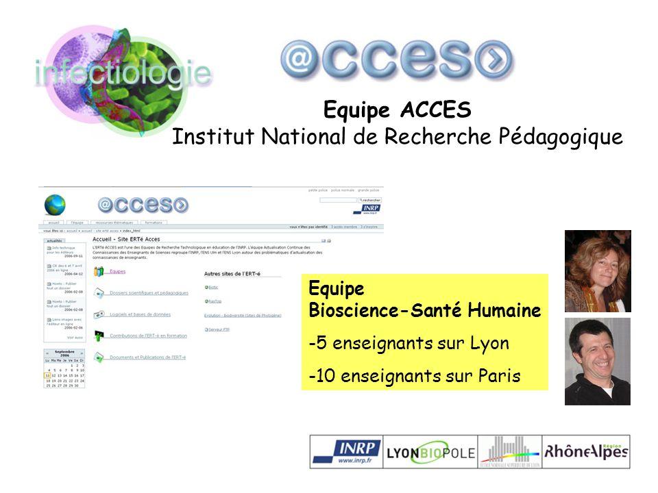 Equipe ACCES Institut National de Recherche Pédagogique Equipe Bioscience-Santé Humaine -5 enseignants sur Lyon -10 enseignants sur Paris