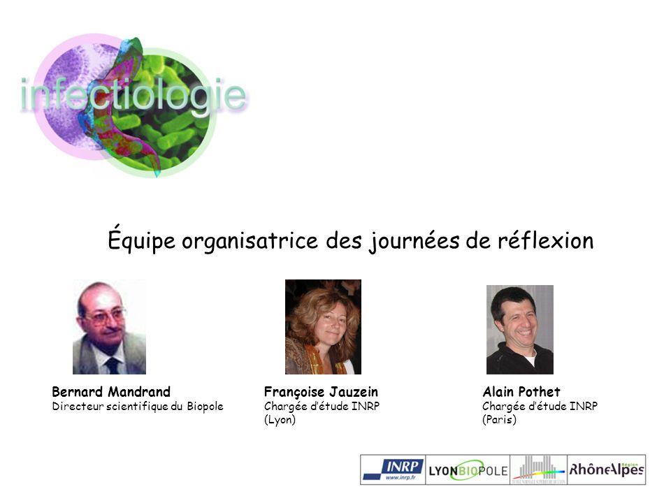 Bernard Mandrand Directeur scientifique du Biopole Équipe organisatrice des journées de réflexion Françoise Jauzein Chargée détude INRP (Lyon) Alain P
