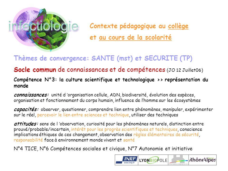 Thèmes de convergence: SANTE (mst) et SECURITE (TP) Socle commun de connaissances et de compétences (JO 12 Juillet06) Compétence N°3: la culture scien