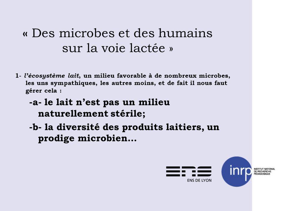 « Des microbes et des humains sur la voie lactée » 1- lécosystème lait, un milieu favorable à de nombreux microbes, les uns sympathiques, les autres m