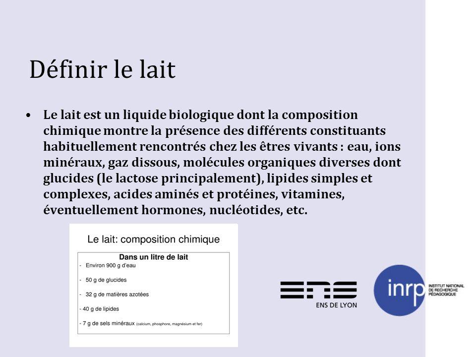 Définir le lait Le lait est un liquide biologique dont la composition chimique montre la présence des différents constituants habituellement rencontré