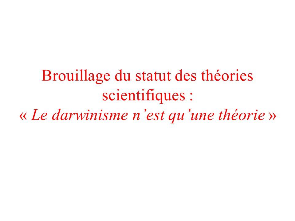 Brouillage du statut des théories scientifiques : « Le darwinisme nest quune théorie »