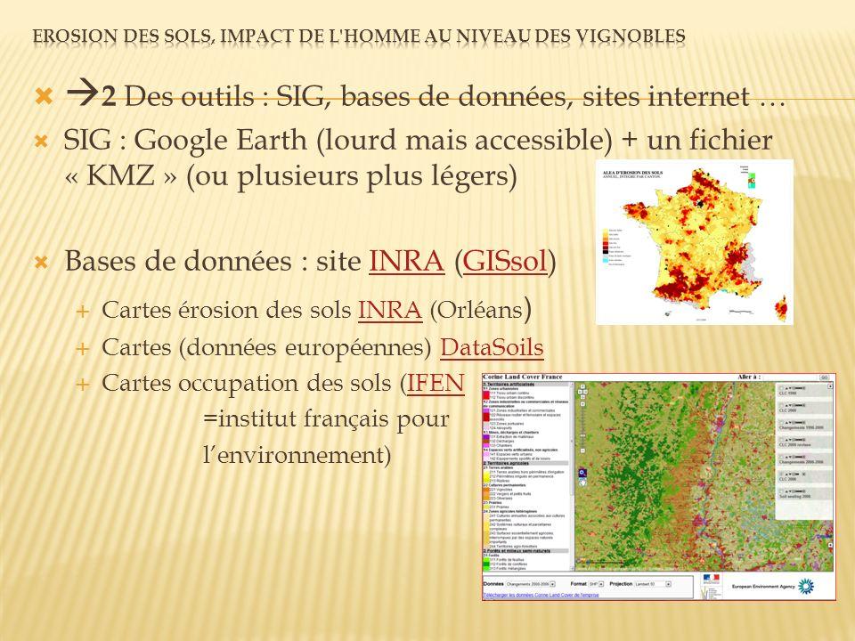 2 Des outils : SIG, bases de données, sites internet … SIG : Google Earth (lourd mais accessible) + un fichier « KMZ » (ou plusieurs plus légers) Bases de données : site INRA (GISsol)INRAGISsol Cartes érosion des sols INRA (Orléans )INRA Cartes (données européennes) DataSoilsDataSoils Cartes occupation des sols (IFENIFEN =institut français pour lenvironnement)