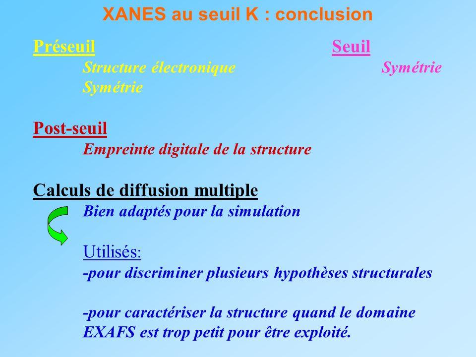 XANES au seuil K : conclusion Préseuil Seuil Structure électroniqueSymétrie Symétrie Post-seuil Empreinte digitale de la structure Calculs de diffusio