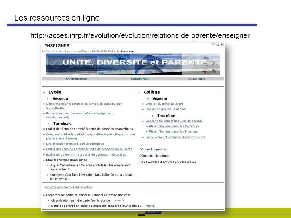 Les ressources en ligne http://acces.inrp.fr/evolution/evolution/relations-de-parente/enseigner