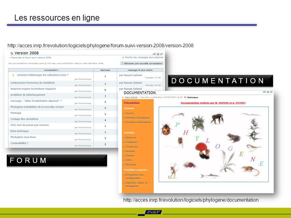 Les ressources en ligne http://acces.inrp.fr/evolution/logiciels/phylogene/documentation http://acces.inrp.fr/evolution/logiciels/phylogene/forum-suiv