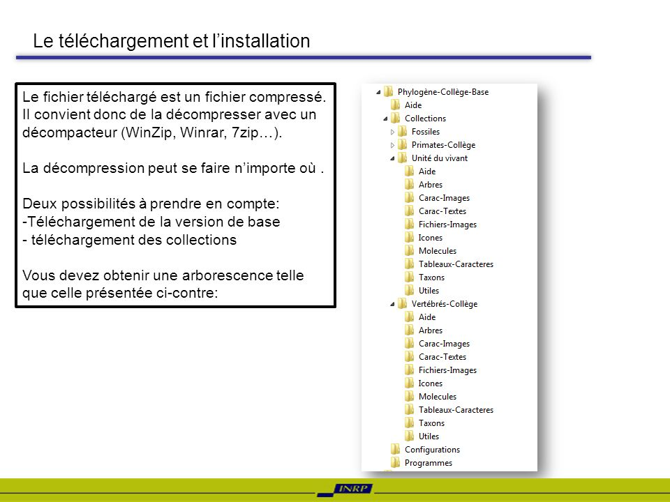 Le téléchargement et linstallation Le fichier téléchargé est un fichier compressé. Il convient donc de la décompresser avec un décompacteur (WinZip, W
