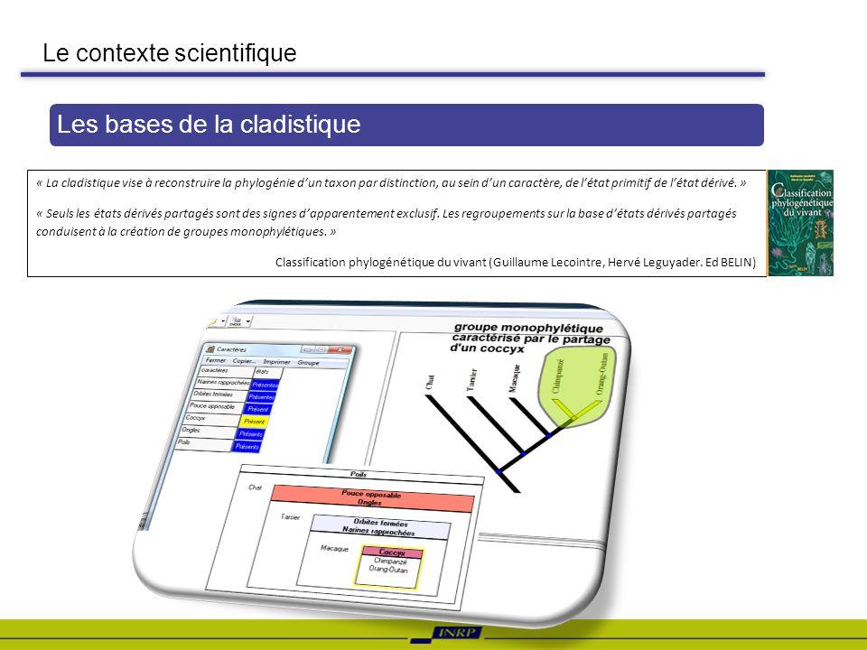 Le contexte scientifique Les bases de la cladistique « La cladistique vise à reconstruire la phylogénie dun taxon par distinction, au sein dun caractè