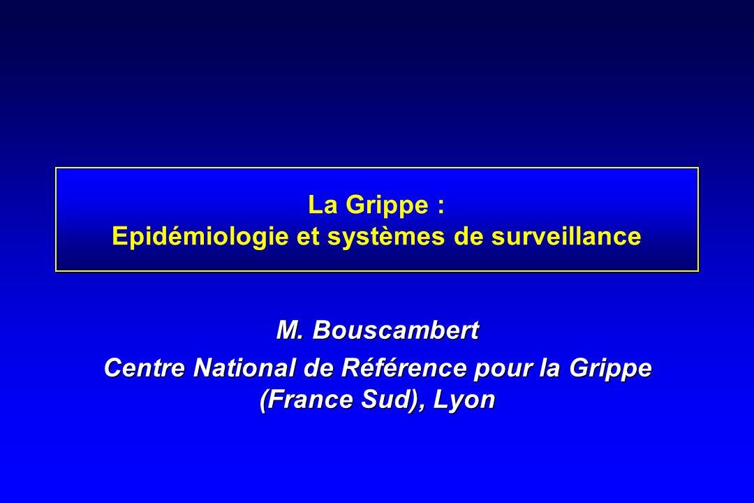 La Grippe : Epidémiologie et systèmes de surveillance M. Bouscambert Centre National de Référence pour la Grippe (France Sud), Lyon M. Bouscambert Cen