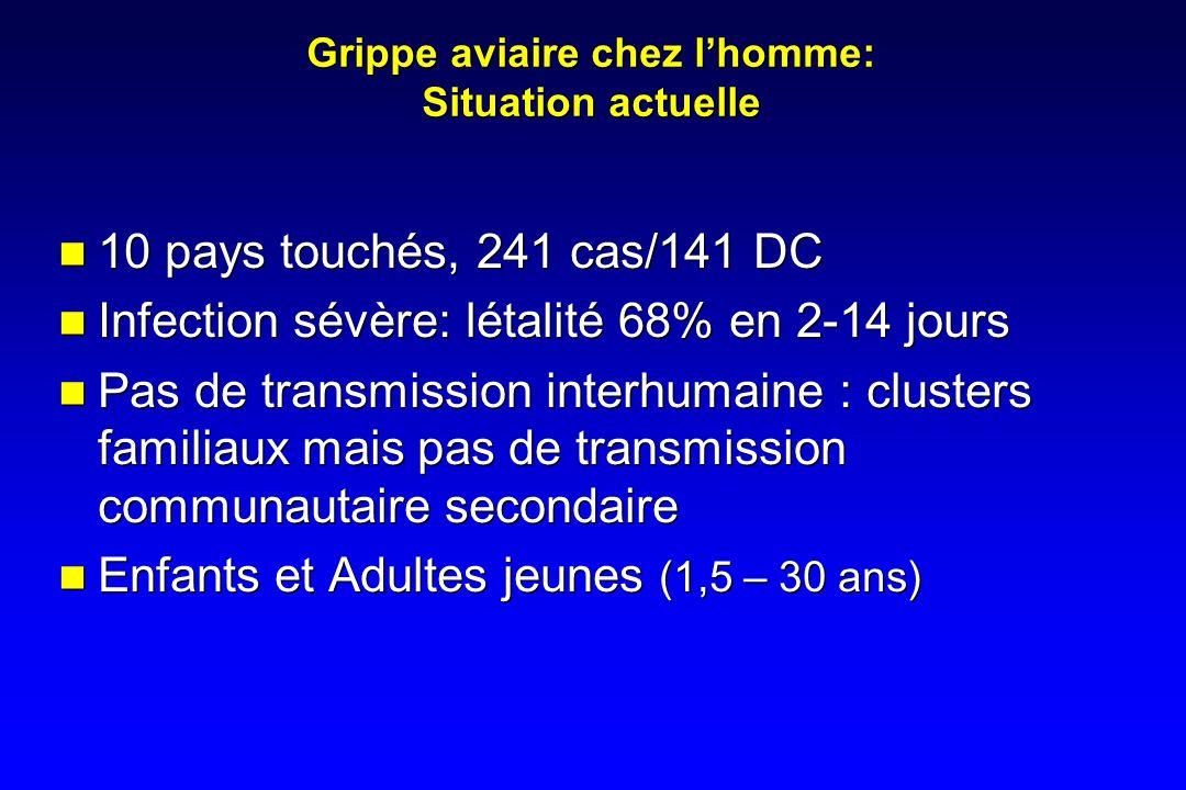 Grippe aviaire chez lhomme: Situation actuelle 10 pays touchés, 241 cas/141 DC Infection sévère: létalité 68% en 2-14 jours Pas de transmission interh