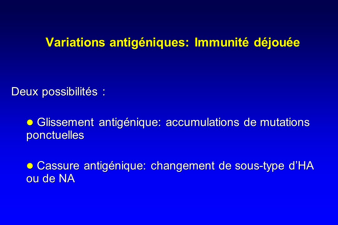 Variations antigéniques: Immunité déjouée Deux possibilités : Glissement antigénique: accumulations de mutations ponctuelles Cassure antigénique: changement de sous-type dHA ou de NA Deux possibilités : Glissement antigénique: accumulations de mutations ponctuelles Cassure antigénique: changement de sous-type dHA ou de NA