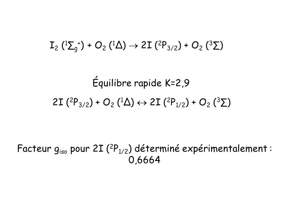 I 2 ( 1 g + ) + O 2 ( 1 ) 2I ( 2 P 3/2 ) + O 2 ( 3 ) 2I ( 2 P 3/2 ) + O 2 ( 1 ) 2I ( 2 P 1/2 ) + O 2 ( 3 ) Équilibre rapide K=2,9 Facteur g iso pour 2