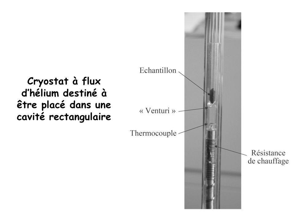 Cryostat à flux dhélium destiné à être placé dans une cavité rectangulaire