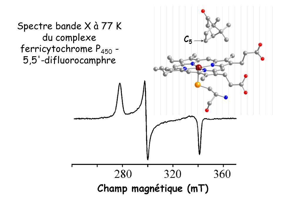 C5C5 Spectre bande X à 77 K du complexe ferricytochrome P 450 - 5,5'-difluorocamphre