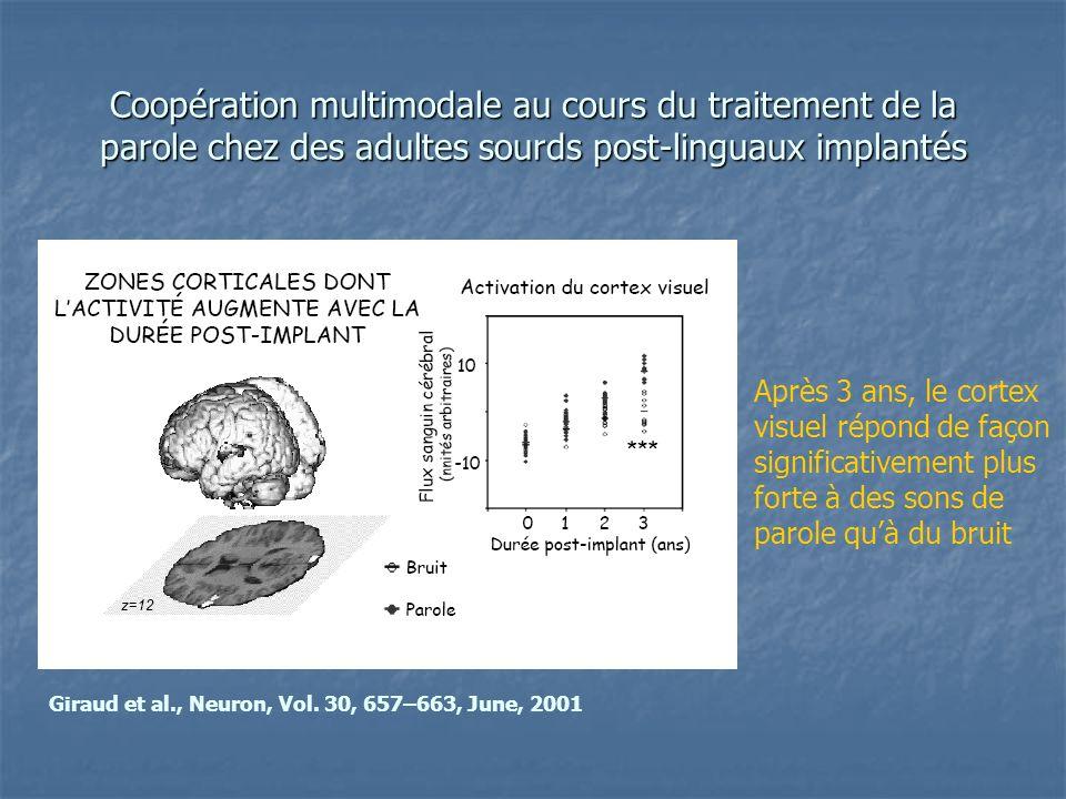 Coopération multimodale au cours du traitement de la parole chez des adultes sourds post-linguaux implantés Après 3 ans, le cortex visuel répond de fa