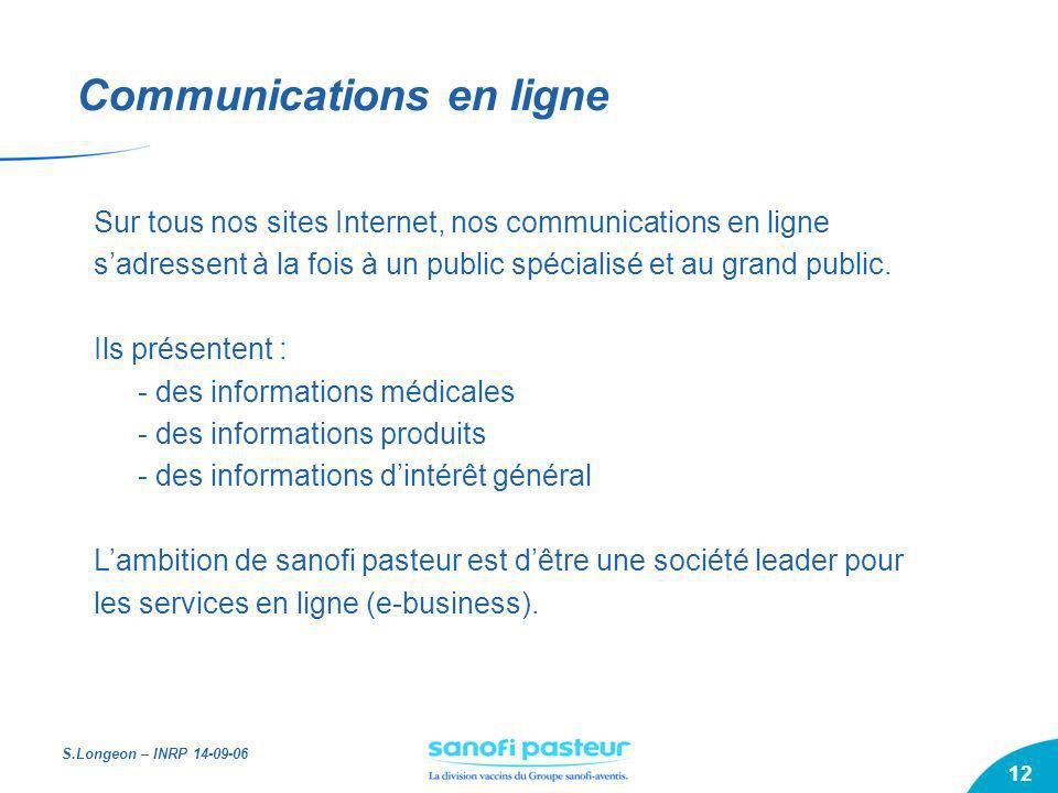 S.Longeon – INRP 14-09-06 12 Communications en ligne Sur tous nos sites Internet, nos communications en ligne sadressent à la fois à un public spécial