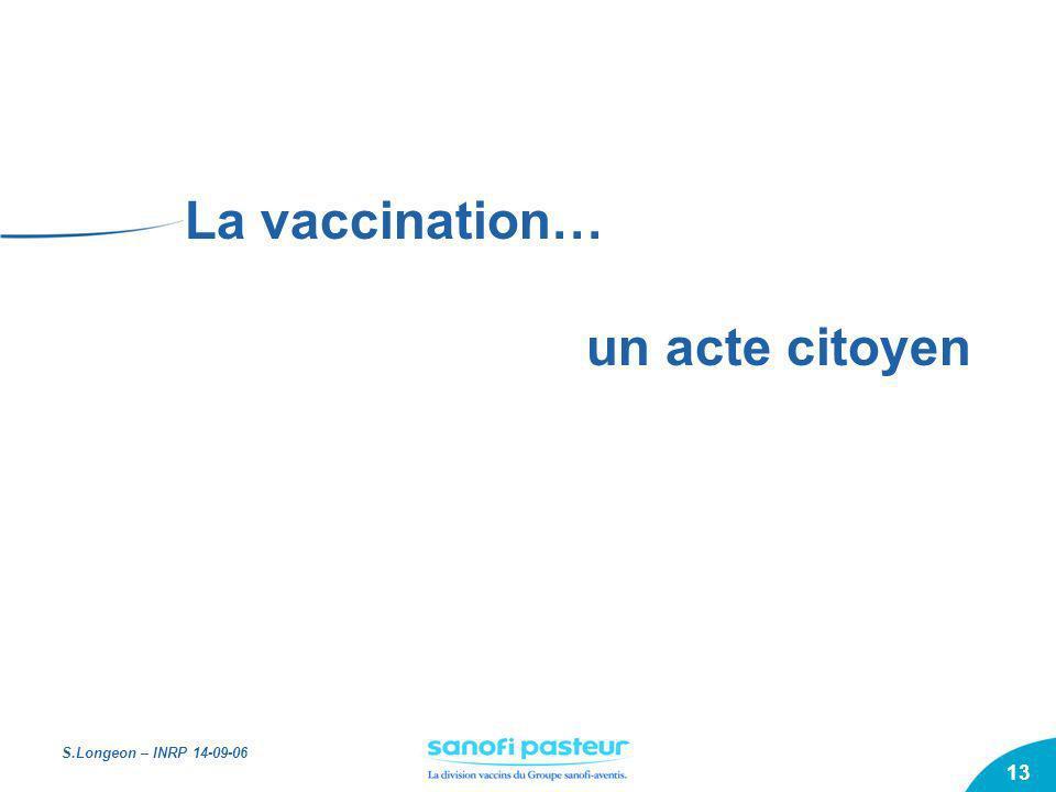 S.Longeon – INRP 14-09-06 13 La vaccination… un acte citoyen
