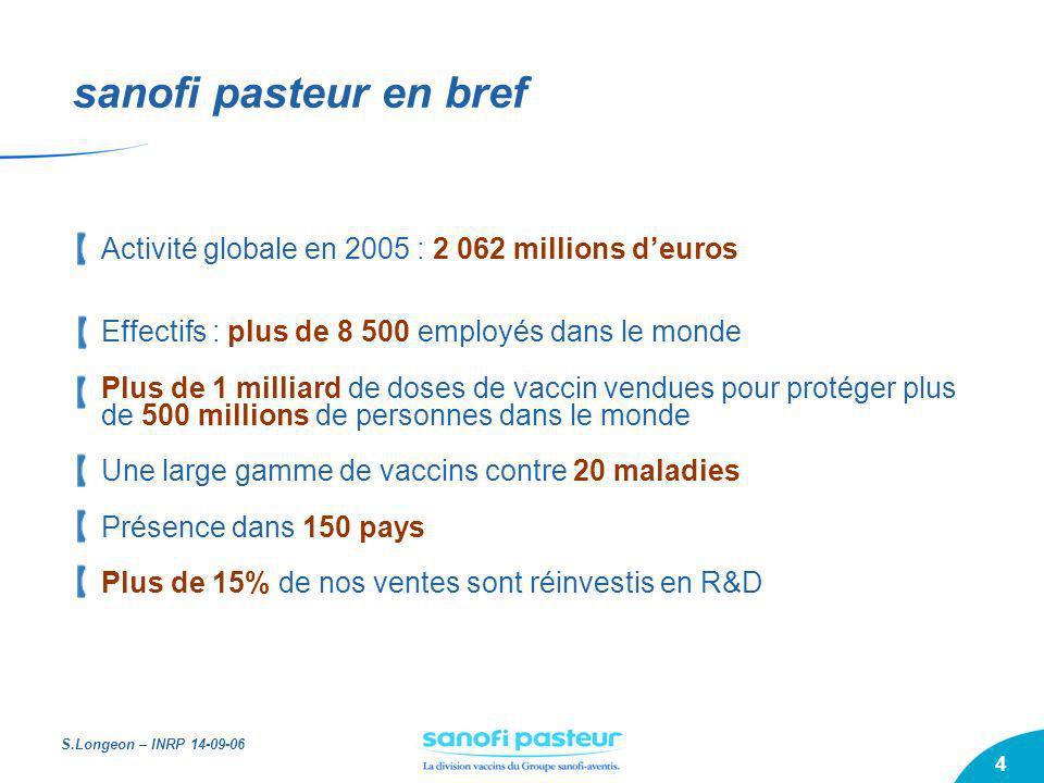 S.Longeon – INRP 14-09-06 4 sanofi pasteur en bref Activité globale en 2005 : 2 062 millions deuros Effectifs : plus de 8 500 employés dans le monde P