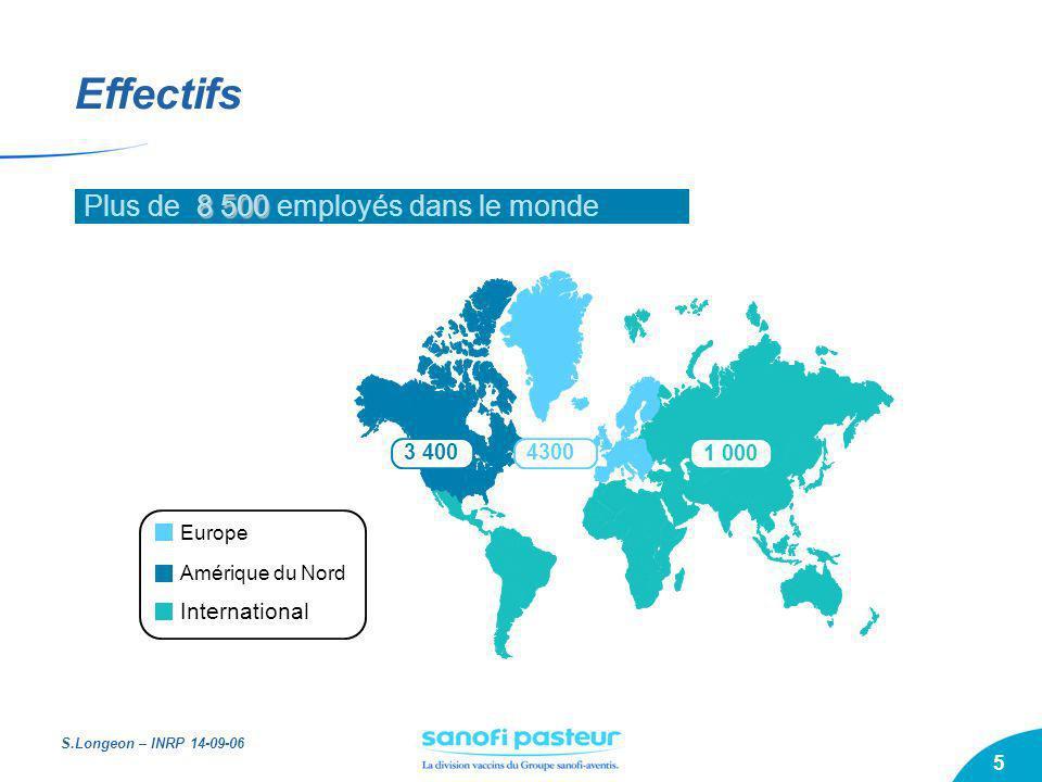 S.Longeon – INRP 14-09-06 5 3 4004300 1 000 International Europe Amérique du Nord Effectifs 8 500 Plus de 8 500 employés dans le monde