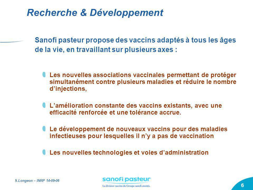 S.Longeon – INRP 14-09-06 6 Sanofi pasteur propose des vaccins adaptés à tous les âges de la vie, en travaillant sur plusieurs axes : Les nouvelles as