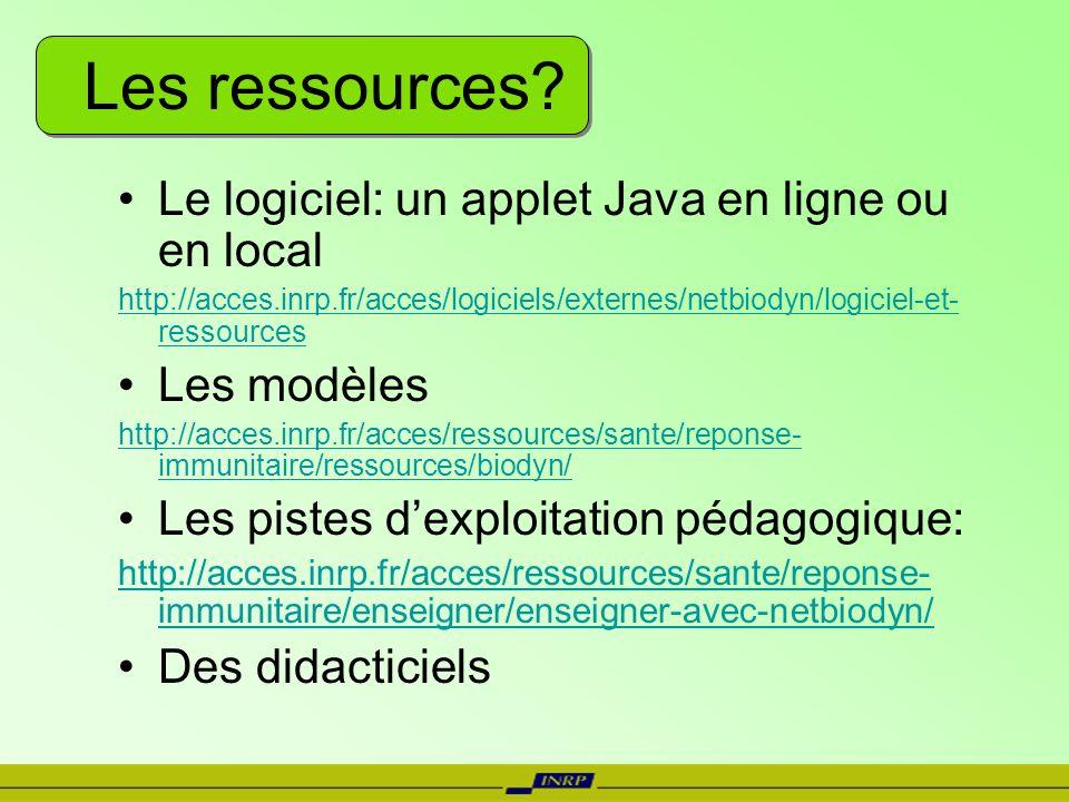 Les ressources? Le logiciel: un applet Java en ligne ou en local http://acces.inrp.fr/acces/logiciels/externes/netbiodyn/logiciel-et- ressources Les m