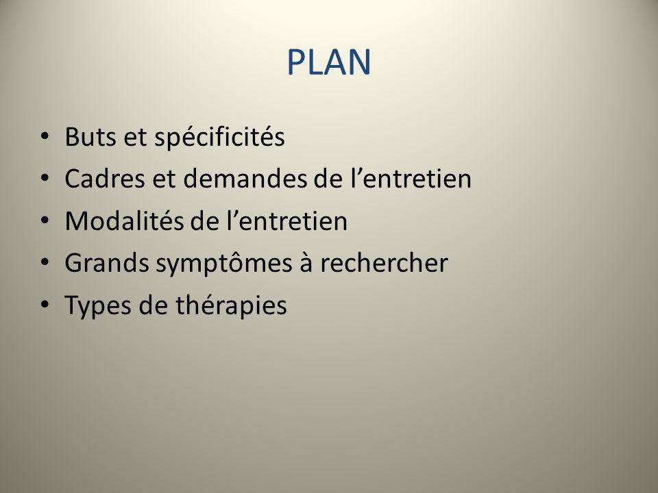 PLAN Buts et spécificités Cadres et demandes de lentretien Modalités de lentretien Grands symptômes à rechercher Types de thérapies