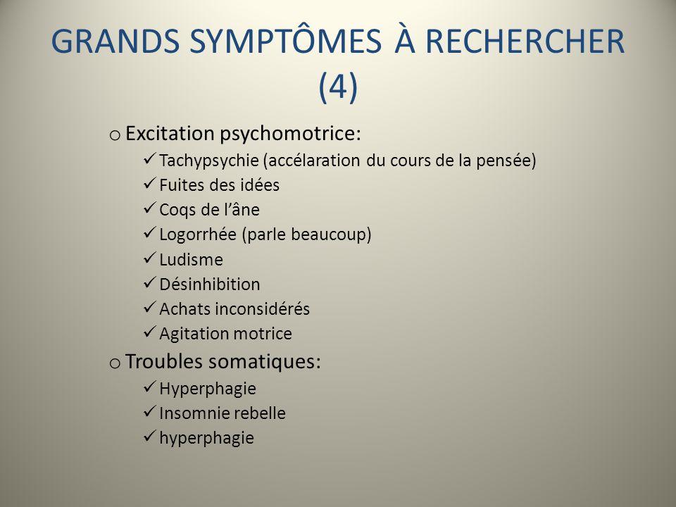 GRANDS SYMPTÔMES À RECHERCHER (4) o Excitation psychomotrice: Tachypsychie (accélaration du cours de la pensée) Fuites des idées Coqs de lâne Logorrhé