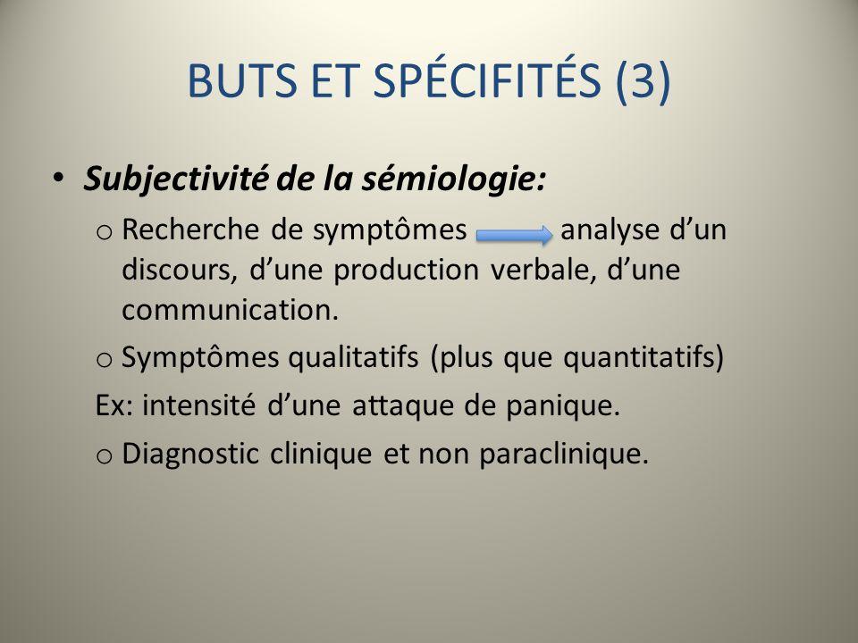 BUTS ET SPÉCIFITÉS (3) Subjectivité de la sémiologie: o Recherche de symptômes analyse dun discours, dune production verbale, dune communication. o Sy