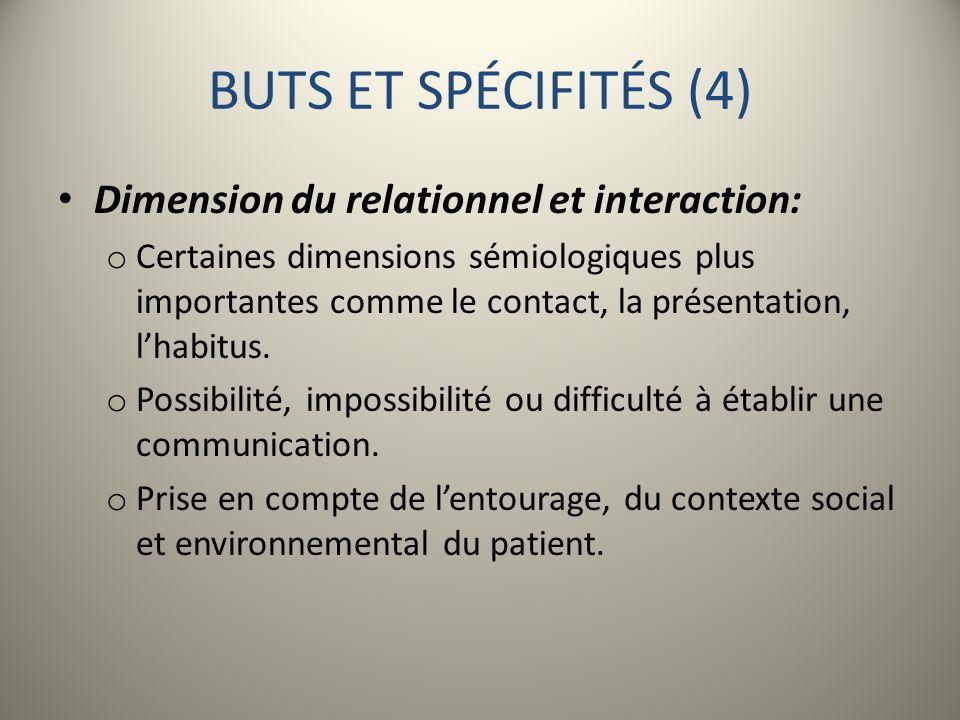 BUTS ET SPÉCIFITÉS (4) Dimension du relationnel et interaction: o Certaines dimensions sémiologiques plus importantes comme le contact, la présentatio