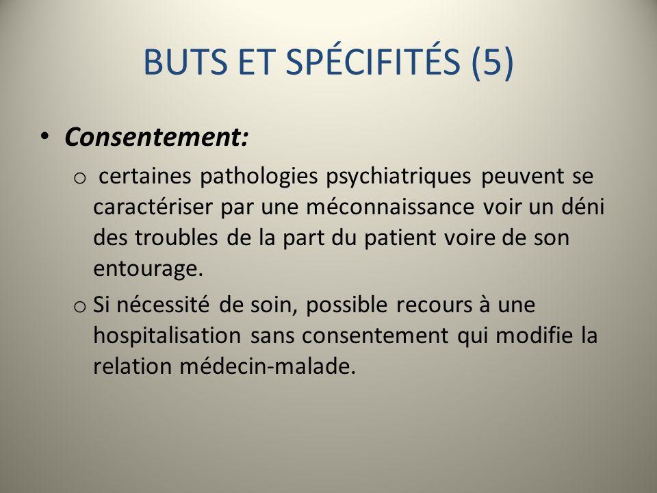 BUTS ET SPÉCIFITÉS (5) Consentement: o certaines pathologies psychiatriques peuvent se caractériser par une méconnaissance voir un déni des troubles d
