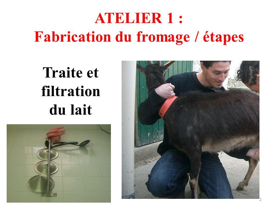 ATELIER 1 : Fabrication du fromage / étapes Traite et filtration du lait 2
