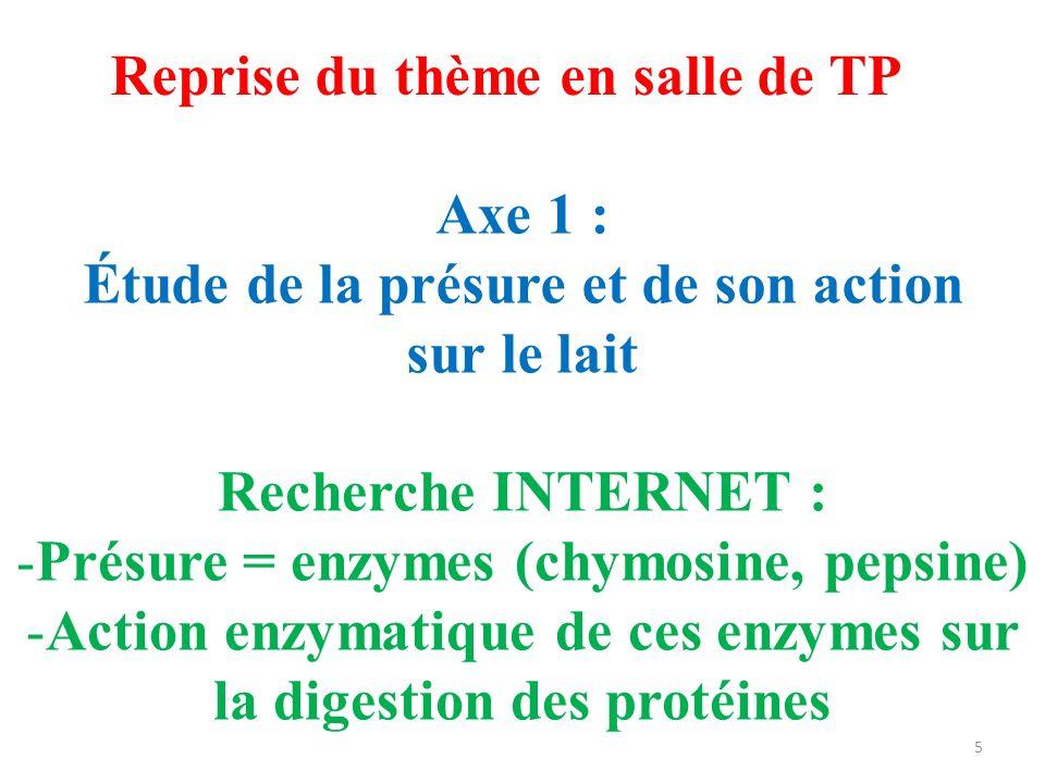 Reprise du thème en salle de TP Axe 1 : Étude de la présure et de son action sur le lait Recherche INTERNET : -Présure = enzymes (chymosine, pepsine)