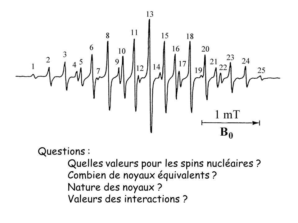 Questions : Quelles valeurs pour les spins nucléaires ? Combien de noyaux équivalents ? Nature des noyaux ? Valeurs des interactions ?