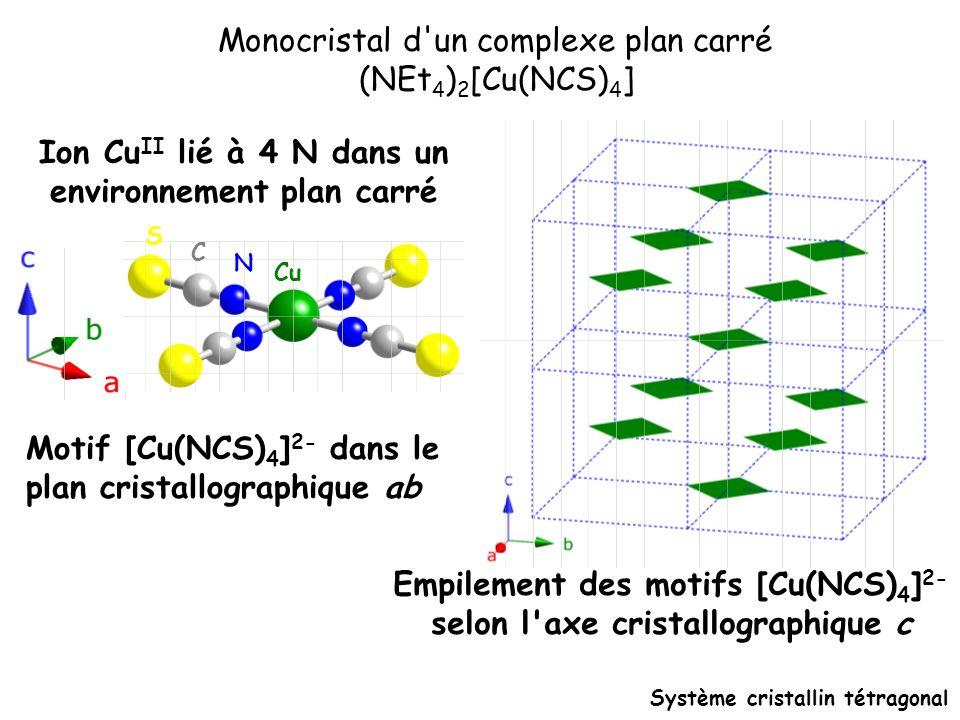 Ion Cu II lié à 4 N dans un environnement plan carré Cu N C S Système cristallin tétragonal Empilement des motifs [Cu(NCS) 4 ] 2- selon l'axe cristall
