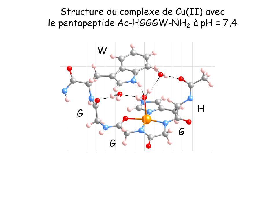 Structure du complexe de Cu(II) avec le pentapeptide Ac-HGGGW-NH 2 à pH = 7,4 H G W G G