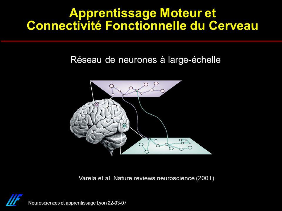 Neurosciences et apprentissage Lyon 22-03-07 Réseau de neurones à large-échelle Varela et al. Nature reviews neuroscience (2001) Apprentissage Moteur